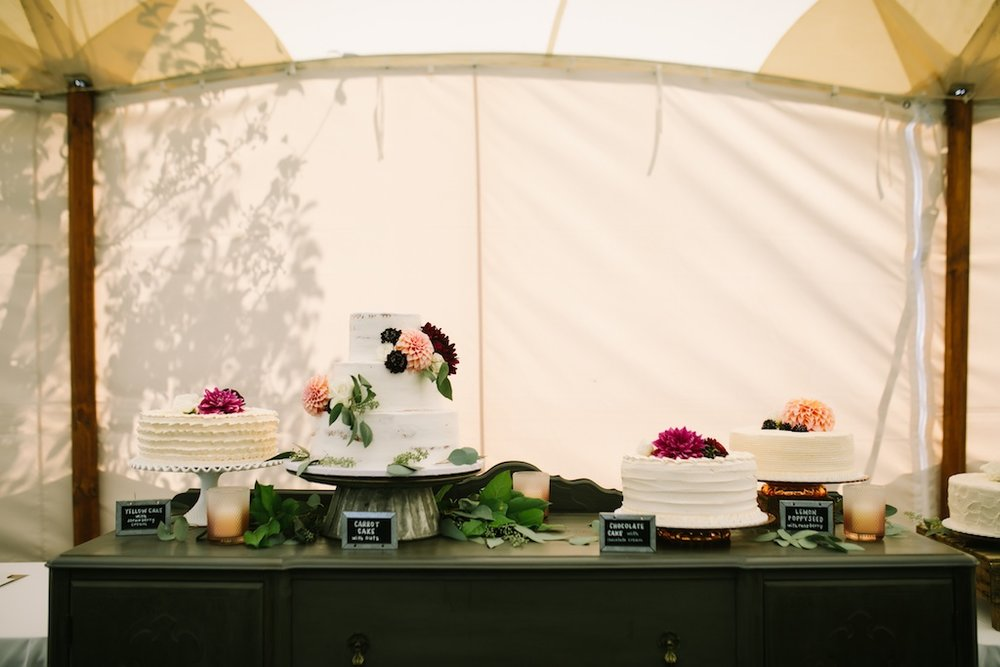 Cake Table with Mini Chalk Signs, Photo by Nicole Haley Photo