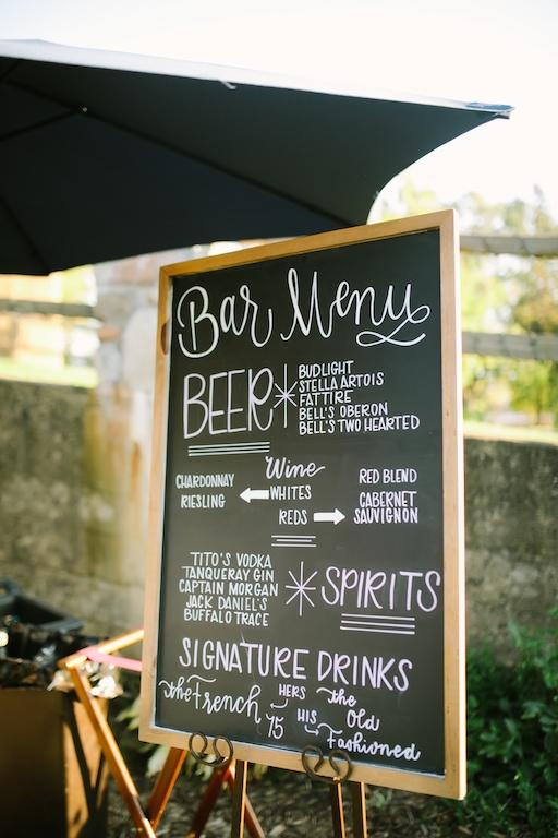 Chalk Bar Menu Sign, Photo by Nicole Haley Photo