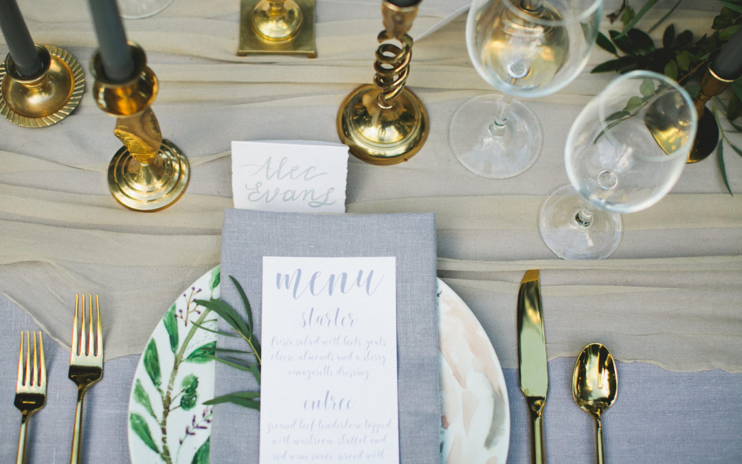 Sophisticated Grey & Gold Styled Shoot on Artfully Wed!