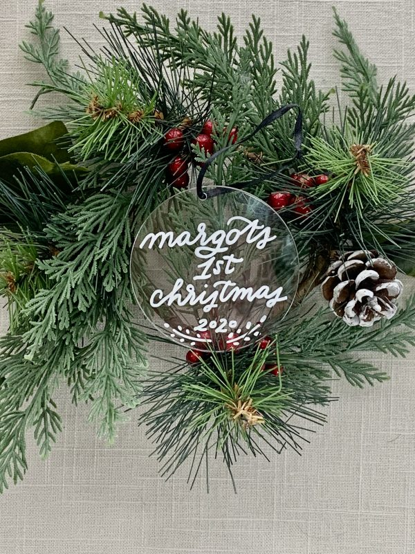 clear acrylic ornament calligraphy
